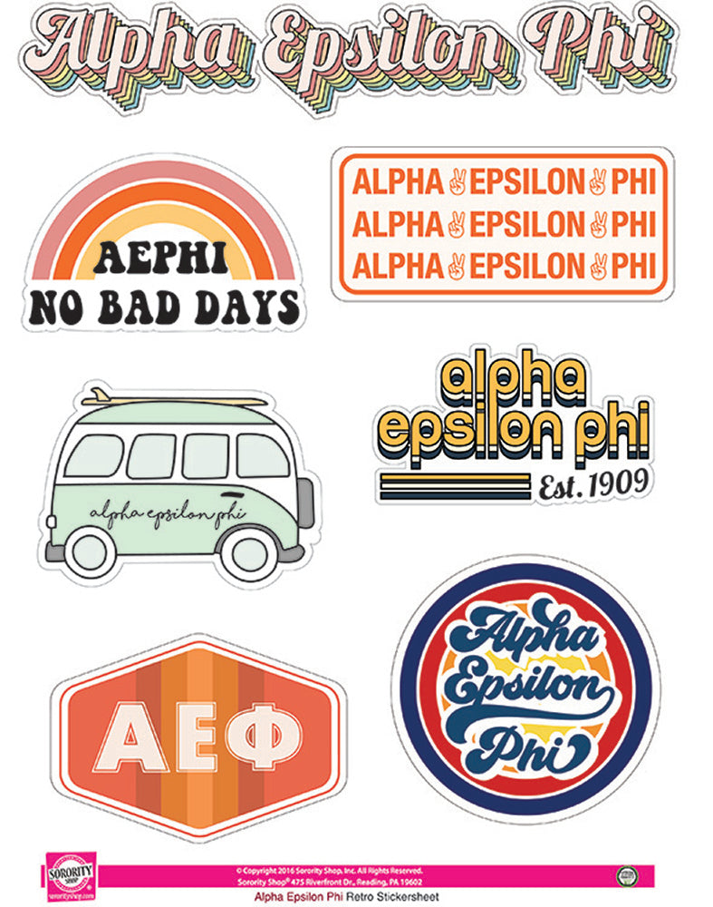 Alpha Epsilon Phi Retro Sticker Sheet