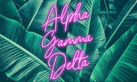 Alpha Gamma Delta Neon Palm Flag