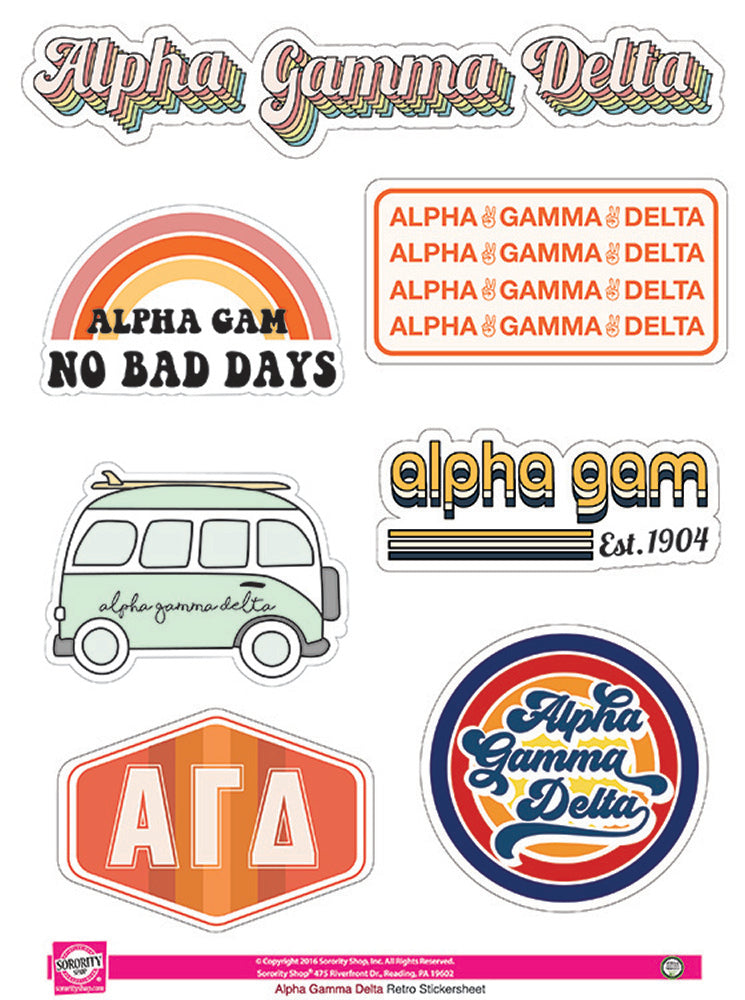 Alpha Gamma Delta Retro Sticker Sheet
