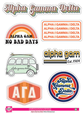 Alpha Gamma Delta <br> Retro Sticker Sheet
