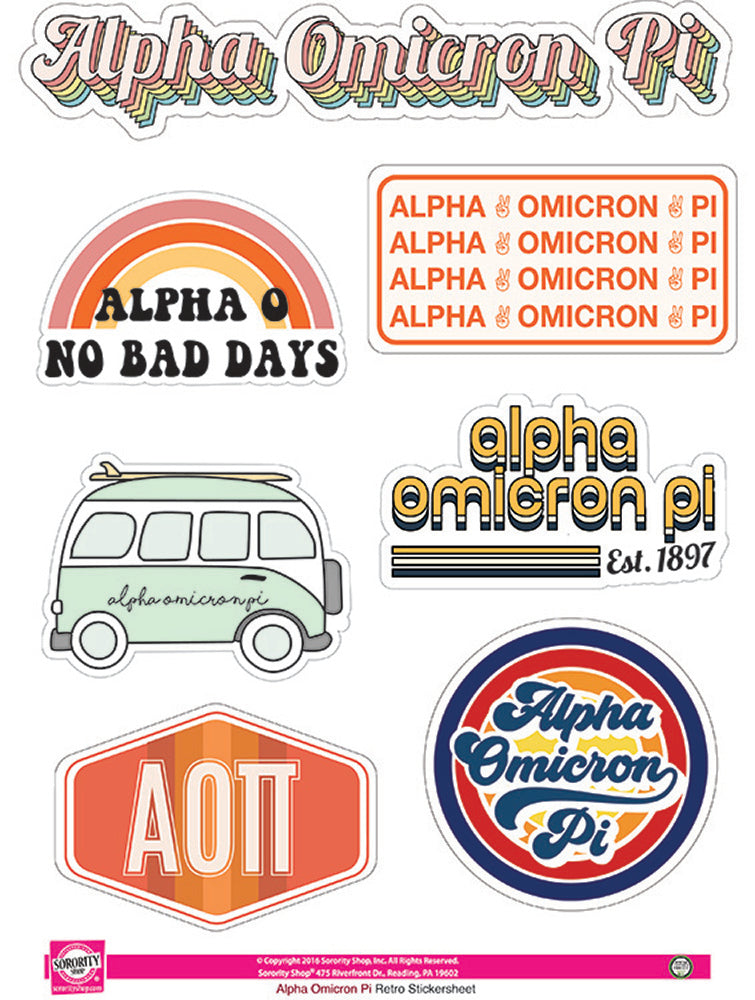 Alpha Omicron Pi Retro Sticker Sheet