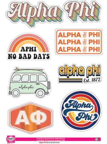 Alpha Phi Retro Sticker Sheet