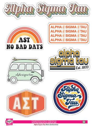 Alpha Sigma Tau Retro Sticker Sheet