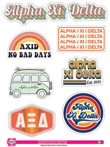 Alpha Xi Delta Retro Sticker Sheet