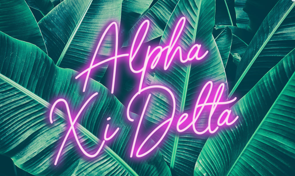 Alpha Xi Delta Neon Palm Flag