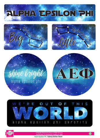Alpha Epsilon Phi Galaxy Stickers