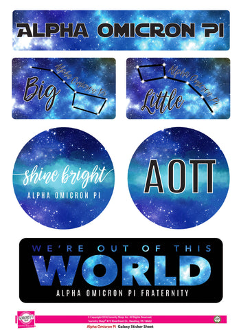 Alpha Omicron Pi Galaxy Stickers