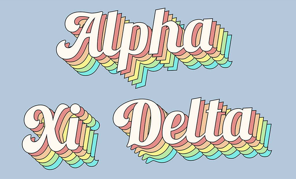 Alpha Xi Delta retro flag