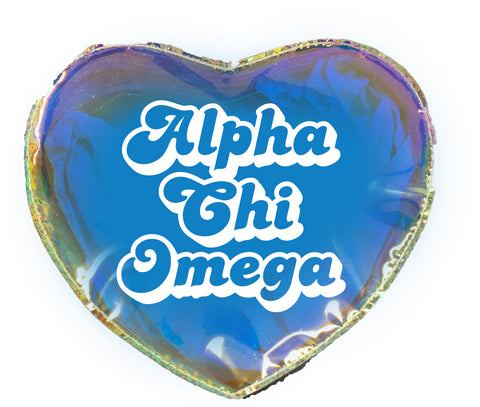 Alpha Chi Omega Heart Shaped Makeup Bag