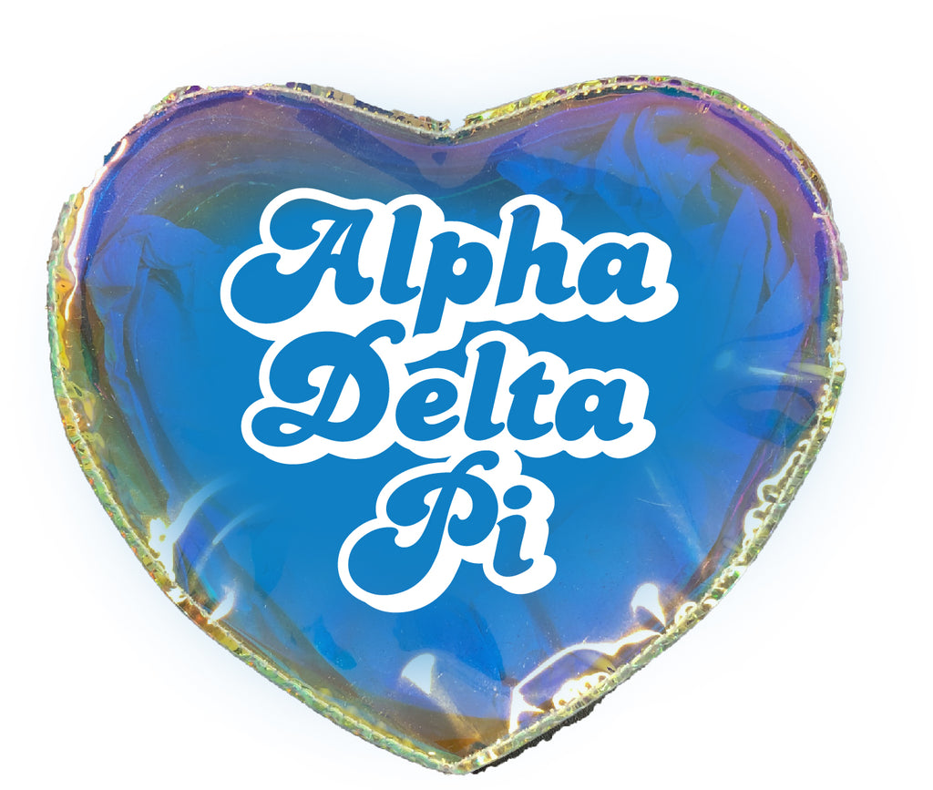 Alpha Delta Pi Heart Shaped Makeup Bag