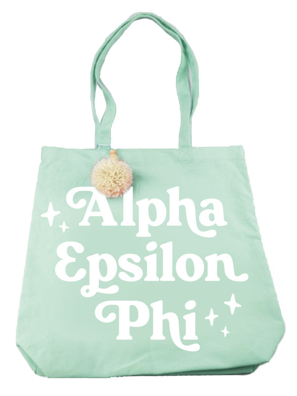 Alpha Epsilon Phi Retro Pom Pom Tote Bag