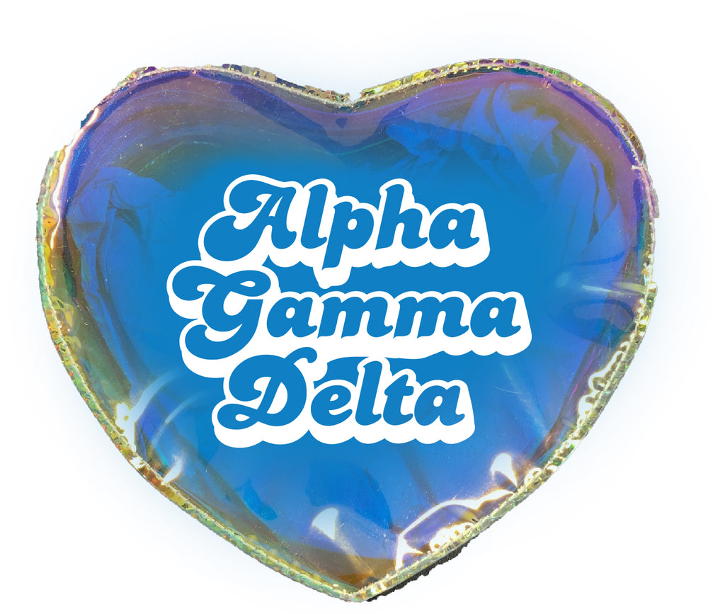 Alpha Gamma Delta Heart Shaped Makeup Bag