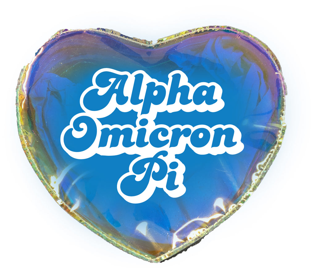 Alpha Omicron Pi Heart Shaped Makeup Bag