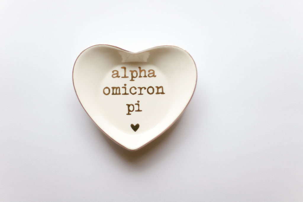Alpha Omicron Pi Ceramic Ring Dish