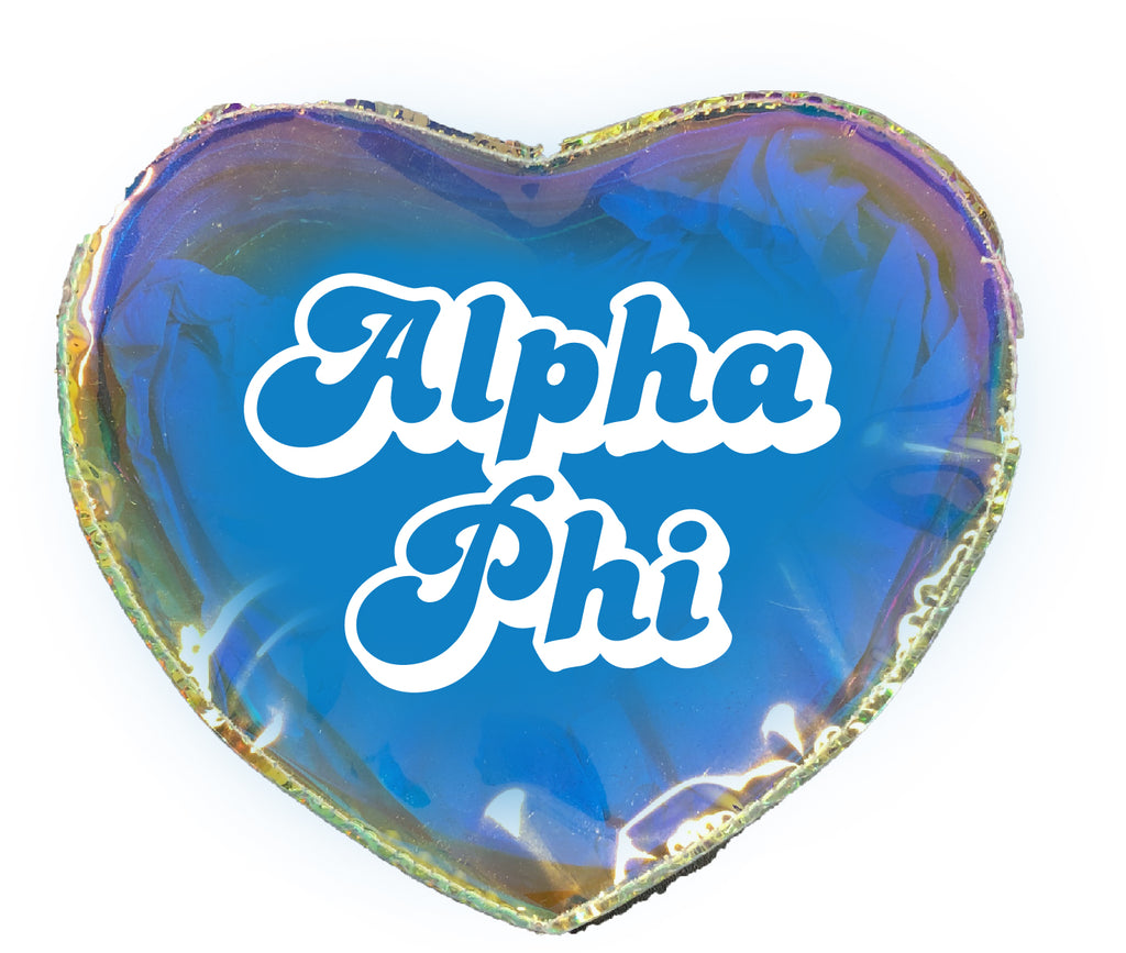 Alpha Phi Heart Shaped Makeup Bag