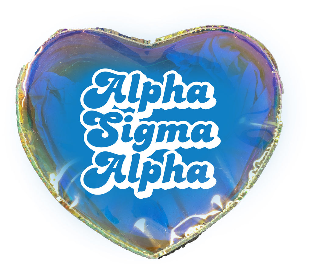 Alpha Sigma Alpha Heart Shaped Makeup Bag