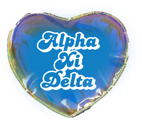 Alpha Xi Delta Heart Shaped Makeup Bag
