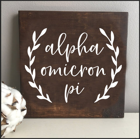 Alpha Omicron Pi Wooden Wall Art
