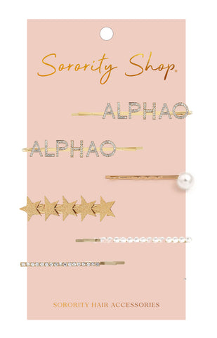 Alpha Omicron Pi Sorority Hair Clips