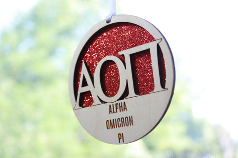 "Alpha Omicron Pi - Laser Carved Greek Letter Ornament - 3"" Round"