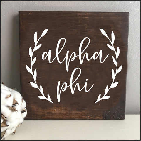 Alpha Phi Wooden Wall Art