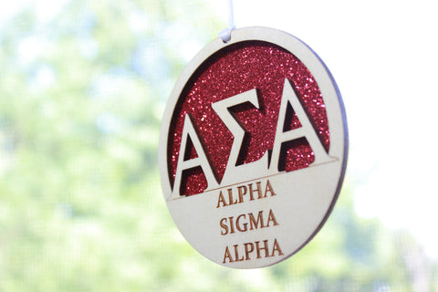 "Alpha Sigma Alpha - Laser Carved Greek Letter Ornament - 3"" Round"