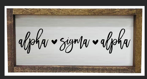 Alpha Sigma Alpha Script Wooden Sign