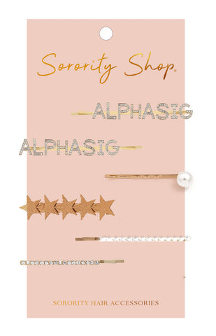 Alpha Sigma Alpha Sorority Hair Clips