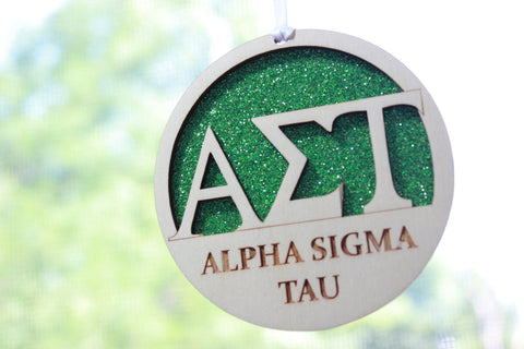 "Alpha Sigma Tau - Laser Carved Greek Letter Ornament - 3"" Round"