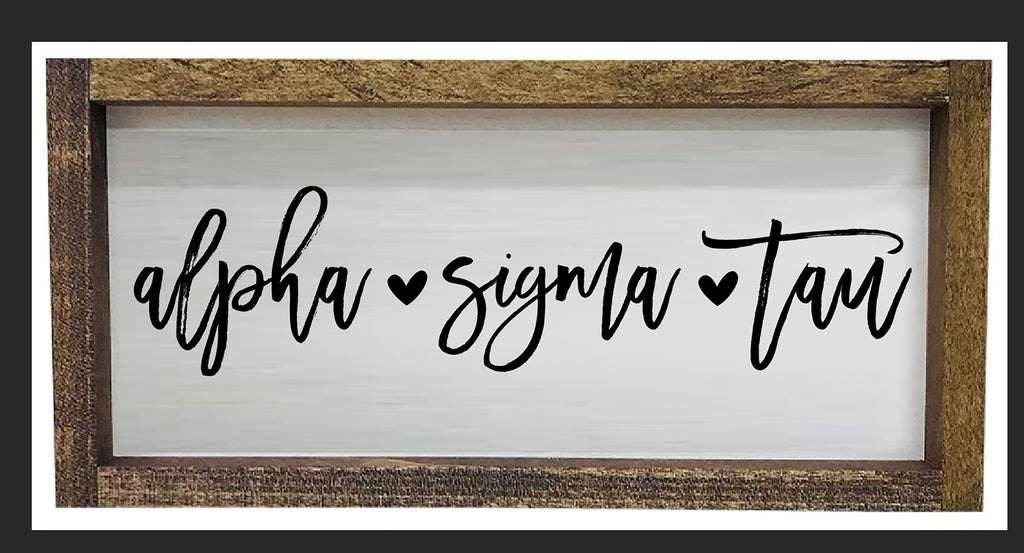 Alpha Sigma Tau Script Wooden Sign