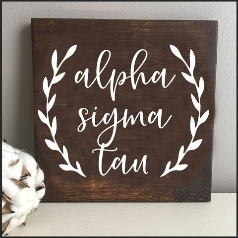 Alpha Sigma Tau Wooden Wall Art