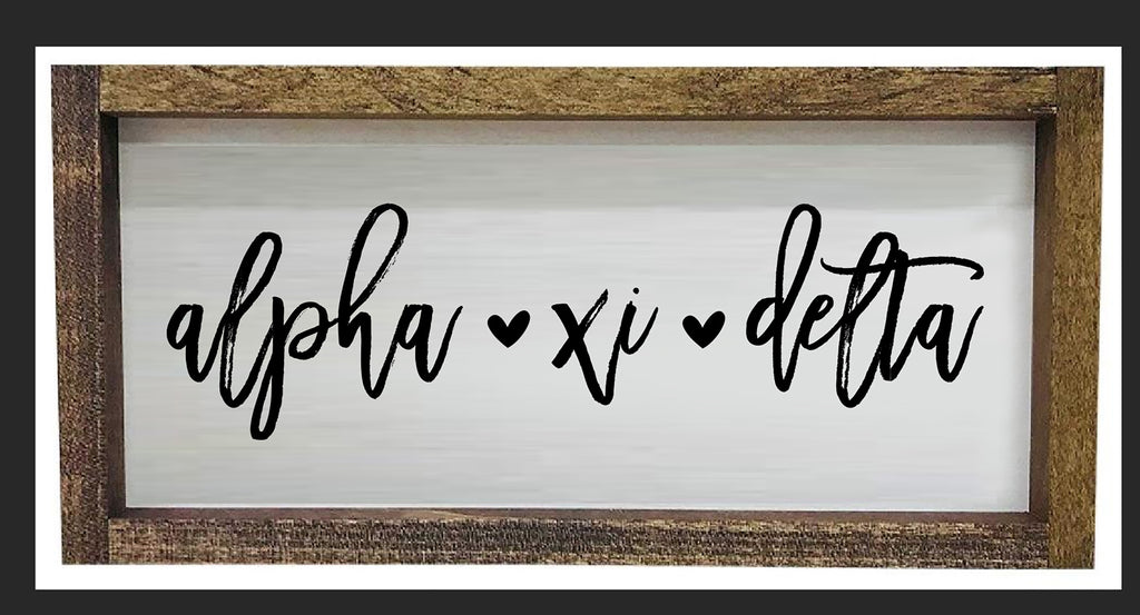 Alpha Xi Delta Script Wooden Sign