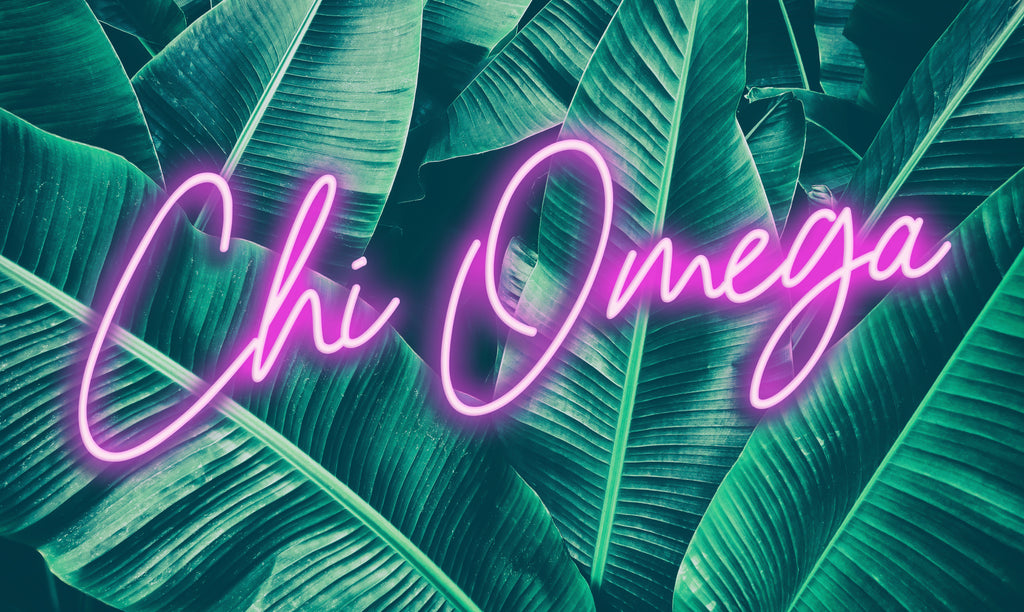Chi Omega Neon Palm Flag