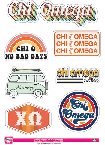 Chi Omega Retro Sticker Sheet
