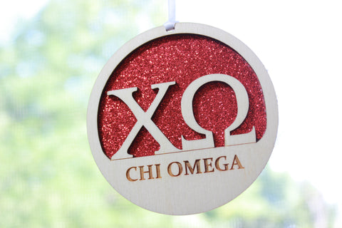 "Chi Omega - Laser Carved Greek Letter Ornament - 3"" Round"