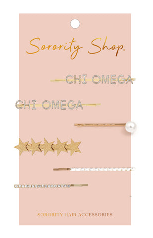 Chi Omega Sorority Hair Clips