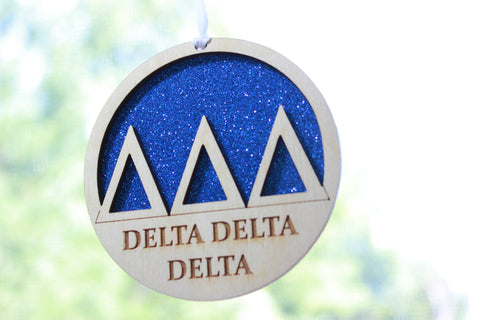 "Delta Delta Delta - Laser Carved Greek Letter Ornament - 3"" Round"
