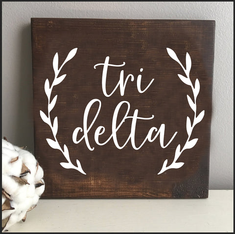 Delta Delta Delta Wooden Wall Art