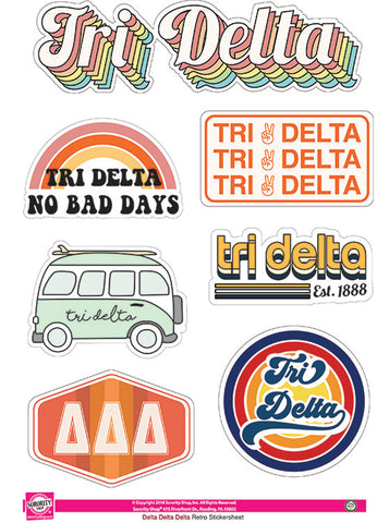 Delta Delta Delta Retro Sticker Sheet
