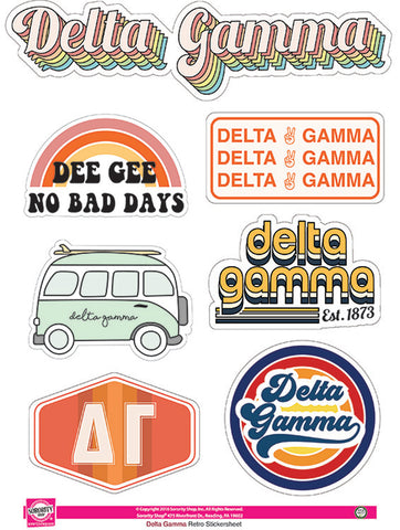 Delta Gamma Retro Sticker Sheet