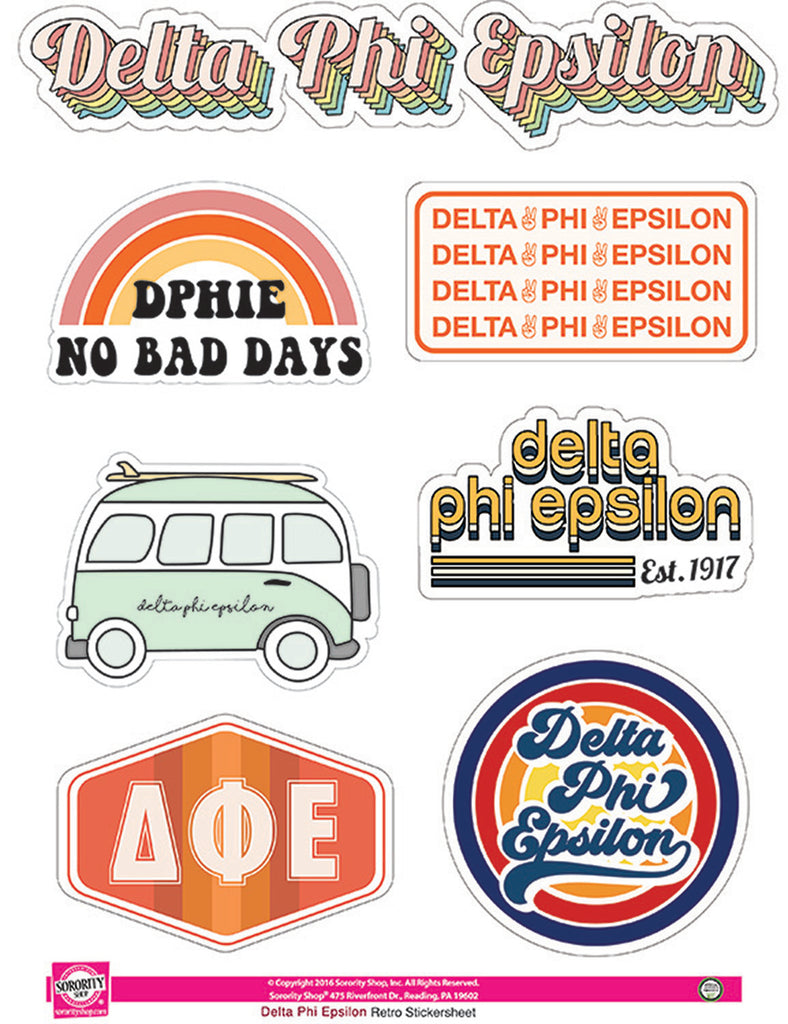 Delta Phi Epsilon Retro Sticker Sheet