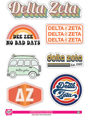 Delta Zeta Retro Sticker Sheet