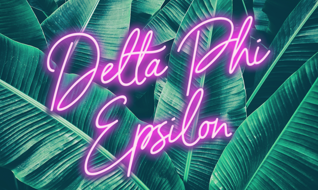 Delta Phi Epsilon Neon Palm Flag