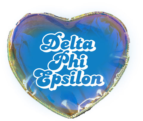Delta Phi Epsilon Heart Shaped Makeup Bag