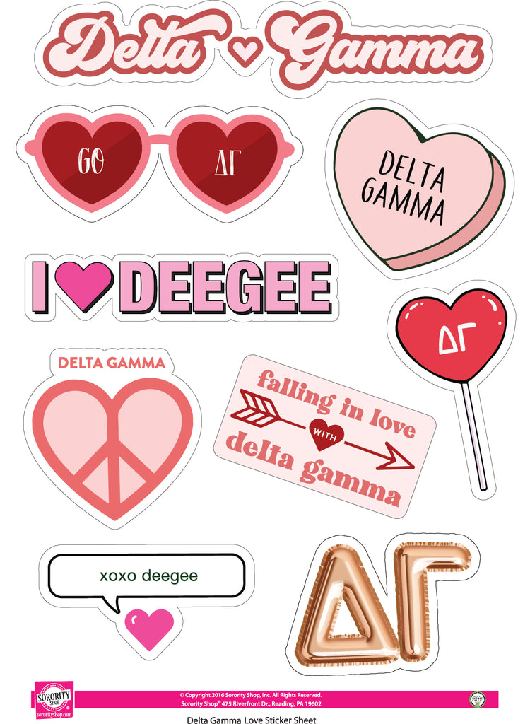 Delta Gamma- Sticker Sheet- Love Theme