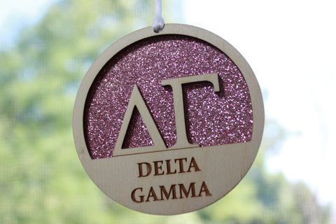 "Delta Gamma - Laser Carved Greek Letter Ornament - 3"" Round"