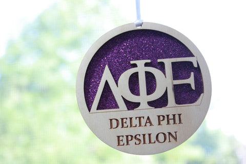 "Delta Phi Epsilon - Laser Carved Greek Letter Ornament - 3"" Round"