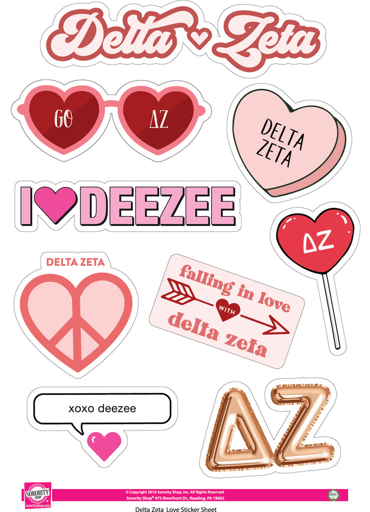 Delta Zeta- Sticker Sheet- Love Theme