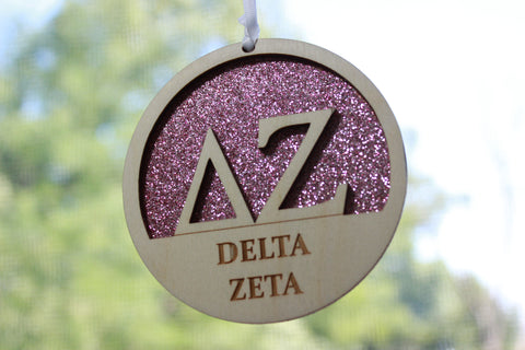 "Delta Zeta - Laser Carved Greek Letter Ornament - 3"" Round"