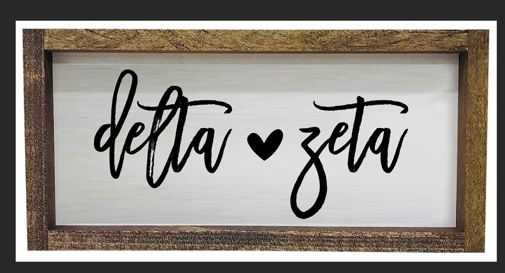 Delta Zeta Script Wooden Sign